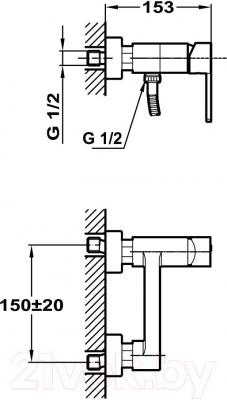 Смеситель Teka Aura 50.232.02.00 - технический чертеж
