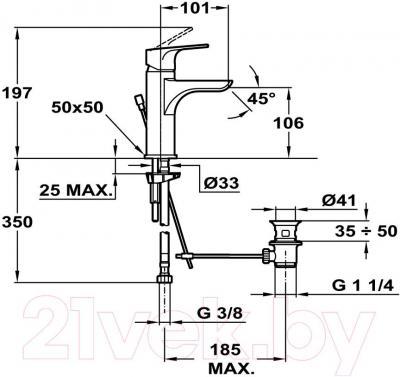 Смеситель Teka Palma 65.332.12.10 - технический чертеж