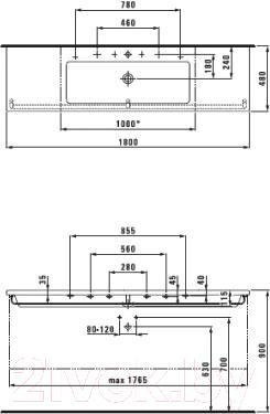 Умывальник накладной Laufen Living Square 180x48 (8164380001041)