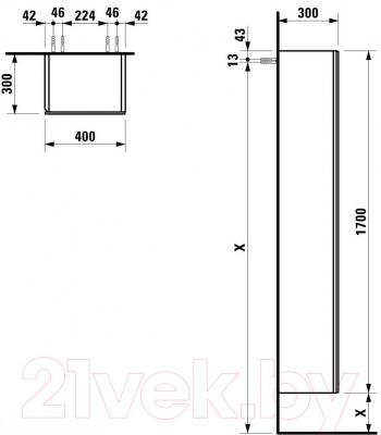 Шкаф с зеркалом для ванной Laufen Alessi One 170x40x30