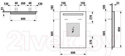 Зеркало для ванной Laufen Case 60x85 (4472219961441) - габаритные размеры