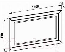 Зеркало для ванной Laufen LB3 120x75 (4499010685151) - габаритные размеры