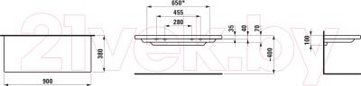 Полка для ванной Laufen Living Square 90x38 (8704330000001) - технический чертеж
