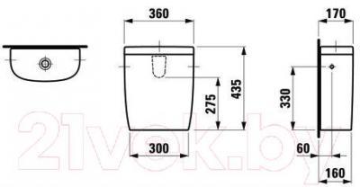 Сливной бачок Laufen Mimo (8275530002911) - габаритыне размеры
