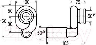 Сифон для писсуара Viega 492465 - схема