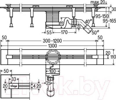 Трап для душа Viega 704353 - схема