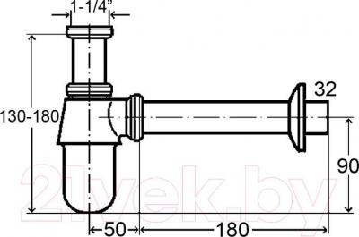 Сифон для умывальника Viega 100674 (хром) - схема
