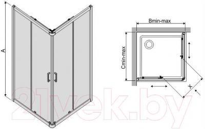 Душевой уголок Sanplast KP4/TX4-90-S (тонированное стекло)