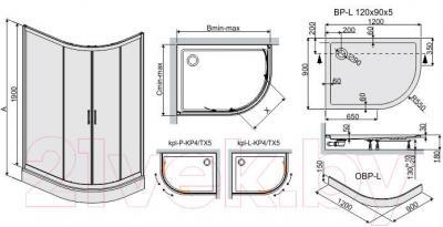 Душевой уголок Sanplast KPL-L-KP4/TX5-90x120-S W15 (матовое стекло с рисунком)
