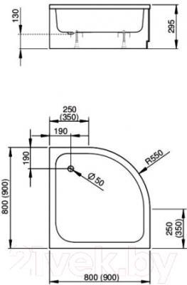 Душевой поддон Sanplast BP-a/EKOPlus 80x80 - схема
