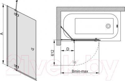Стеклянная шторка для ванны Sanplast PW2/FREE-90-S - схема