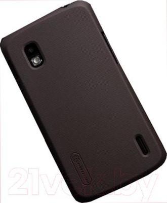 Накладной чехол Nillkin Super Frosted (коричневый, для Nexus 4/E960) - общий вид