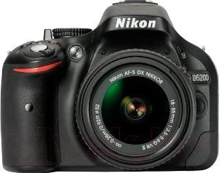 Зеркальный фотоаппарат Nikon D5200 Kit (18-55mm VR II, черный) - вид спереди