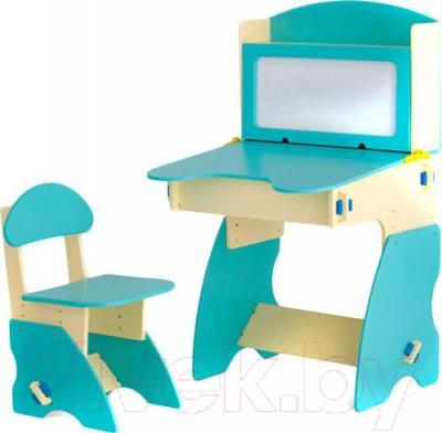 Стол+стул Столики Детям ББ-1 (бежево-бирюзовый) - общий вид