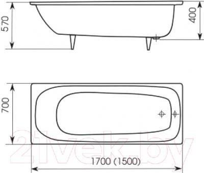 Ванна чугунная Кировский завод Ресса 150x70 (с ручками и ножками)