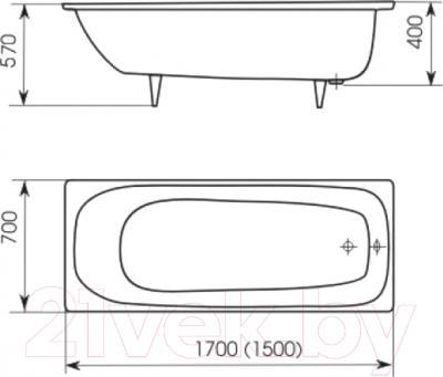 Ванна чугунная Кировский завод Престиж 1.7 170x70 (с ножками)