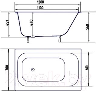 Ванна чугунная Кировский завод Малютка 120x70 (с ножками)