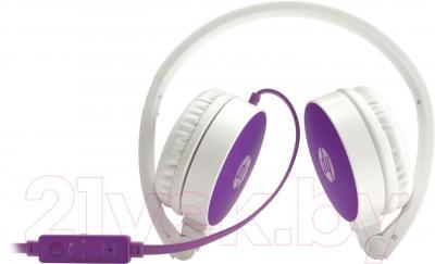 Наушники-гарнитура HP Stereo Headset H2800 (бело-фиолетовый) - в сложенном виде