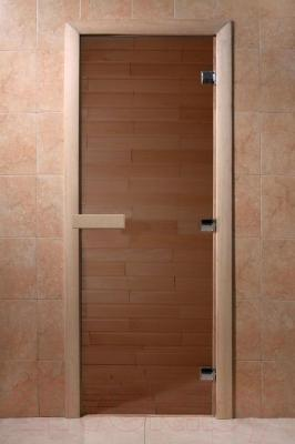 Стеклянная дверь для бани/сауны Doorwood 700x1800 (бронза, стекло бронзовое) - общий вид
