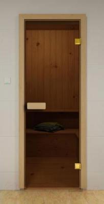Стеклянная дверь для бани/сауны Saunamarket 690х1890 (стекло бронзовое, сосна) - общий вид