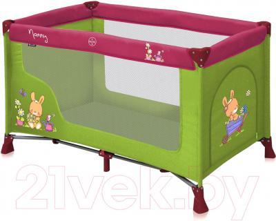Кровать-манеж Lorelli Nanny 1 (Green-Pink Bunnies) - общий вид