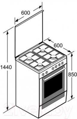 Кухонная плита Bosch HGG23W365R - технический чертеж