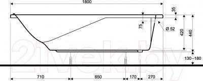 Ванна акриловая Kolo Comfort 180x80 (с ножками) - схема