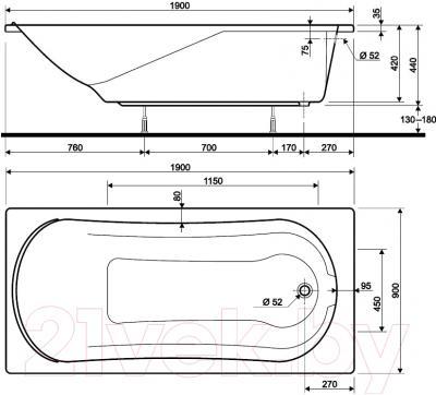 Ванна акриловая Kolo Comfort 190x90 (с ножками)