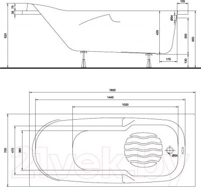 Ванна акриловая Kolo Diuna 160x70 (с ножками) - схема