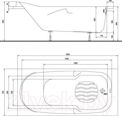 Ванна акриловая Kolo Diuna 160x75 (с ножками) - схема