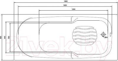 Ванна акриловая Kolo Diuna 180x80 (с ножками) - схема