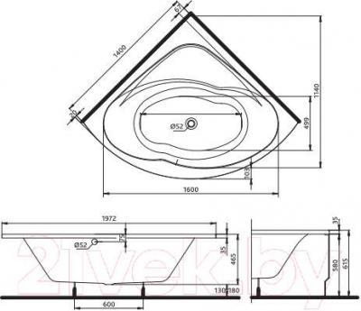 Ванна акриловая Kolo Inspiration 140x140 (с ножками) - чертеж