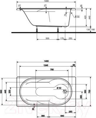 Ванна акриловая Kolo Laguna 140x70 (с ножками) - схема