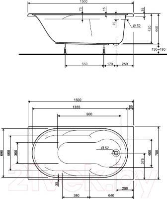 Ванна акриловая Kolo Laguna 150x75 (с ножками)