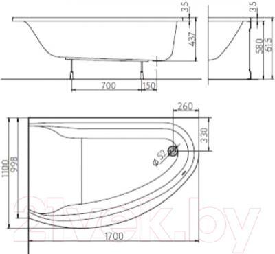 Ванна акриловая Kolo Mirra 170x110 R