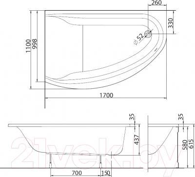 Ванна акриловая Kolo Mirra 170x110 L