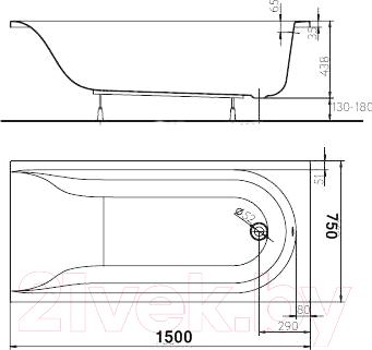 Ванна акриловая Kolo Mirra 150x75