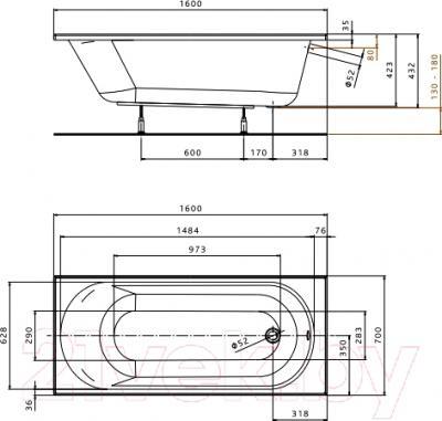 Ванна акриловая Kolo Opal 160x70 (с ножками)