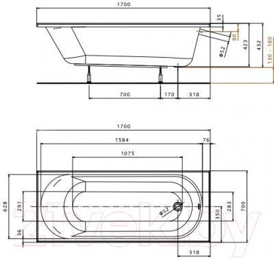 Ванна акриловая Kolo Opal 170x70 (с ножками)