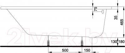 Ванна акриловая Kolo Spring 160х100 R (правая, с ножками) - схема