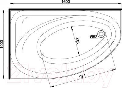 Ванна акриловая Kolo Spring 160x100 L (с ножками) - схема