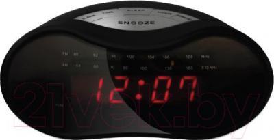 Радиочасы Mystery MCR-33 (черный с красным) - общий вид