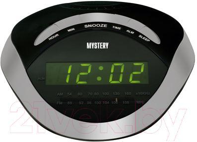 Радиочасы Mystery MCR-46 (черный с зеленым) - общий вид