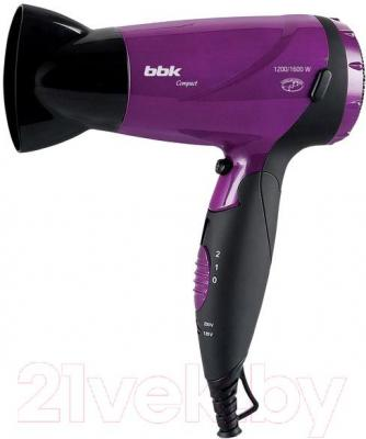 Компактный фен BBK BHD1603i (черно-фиолетовый) - общий вид