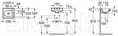 Умывальник настенный Roca Meridian 35x32 (A327249000) - габаритные размеры