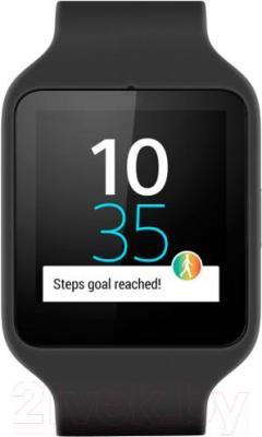Интеллектуальные часы Sony SmartWatch 3 (черный) - вид спереди