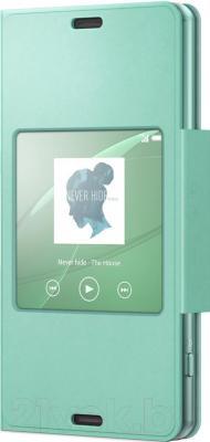 Чехол-книжка Sony SCR26 (зеленый, с окошком) - общий вид
