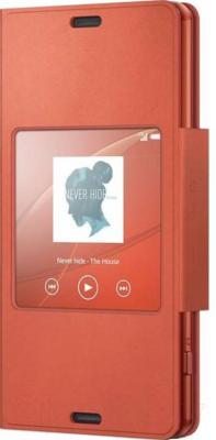 Чехол-книжка Sony SCR26 (оранжевый, с окошком) - общий вид