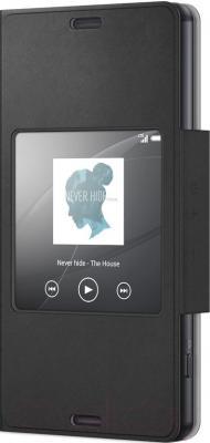 Чехол-книжка Sony SCR26 (черный, с окошком) - общий вид
