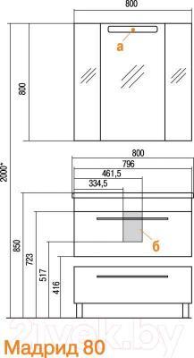 Тумба под умывальник Акватон Мадрид 80 М (1A126801MA940)